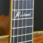 The Worland logo was placed at the 12th fret. Ebony fretboard is bound in boxwood.