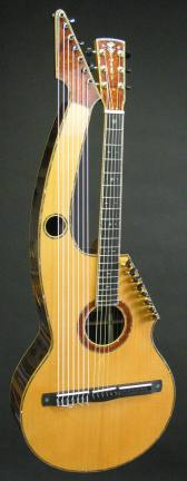 Front, full view of the 21 string hollow arm Harp Guitar