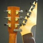 The sub basses are tuned with 2 types of tuners. 16:1 geared viola Peghed tuners are alternated with Gotoh mini tuners to allow more access to the knobs. A small bracket joins the 2 pegheads