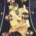 Custom inlay on the peghead of the Gibson Model U Harp Guitar
