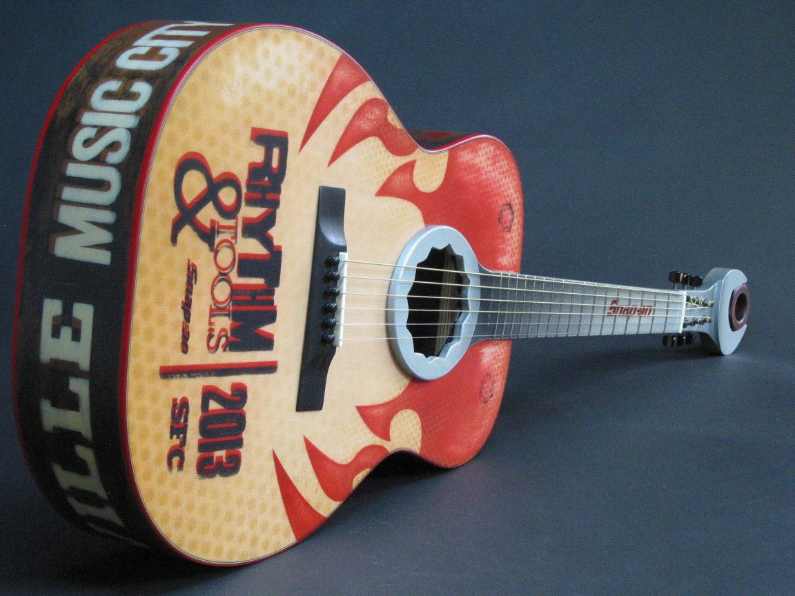 A custom acoustic guitar made for Snap-On tools