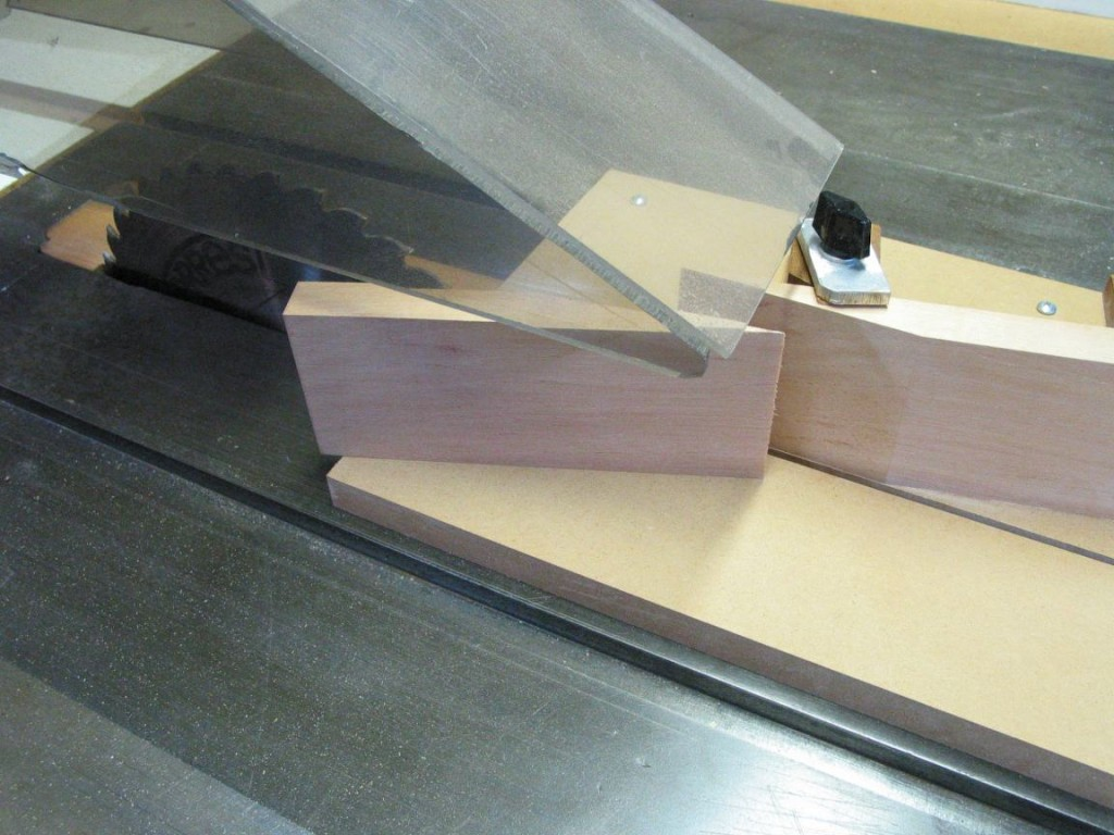 I am using the table saw to cut the scarf joint where the peghead joins the neck.